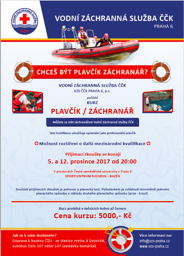 Plakát na kurz plavčík Z3 v roce 2018.