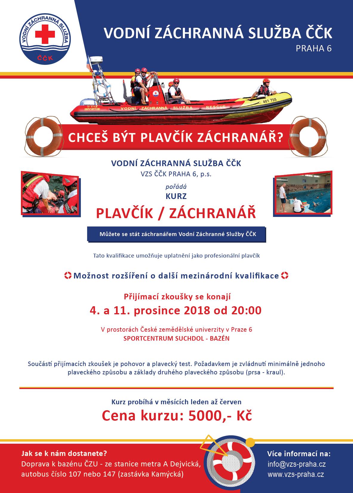 Plakát na kurz plavčík Z3 v roce 2019